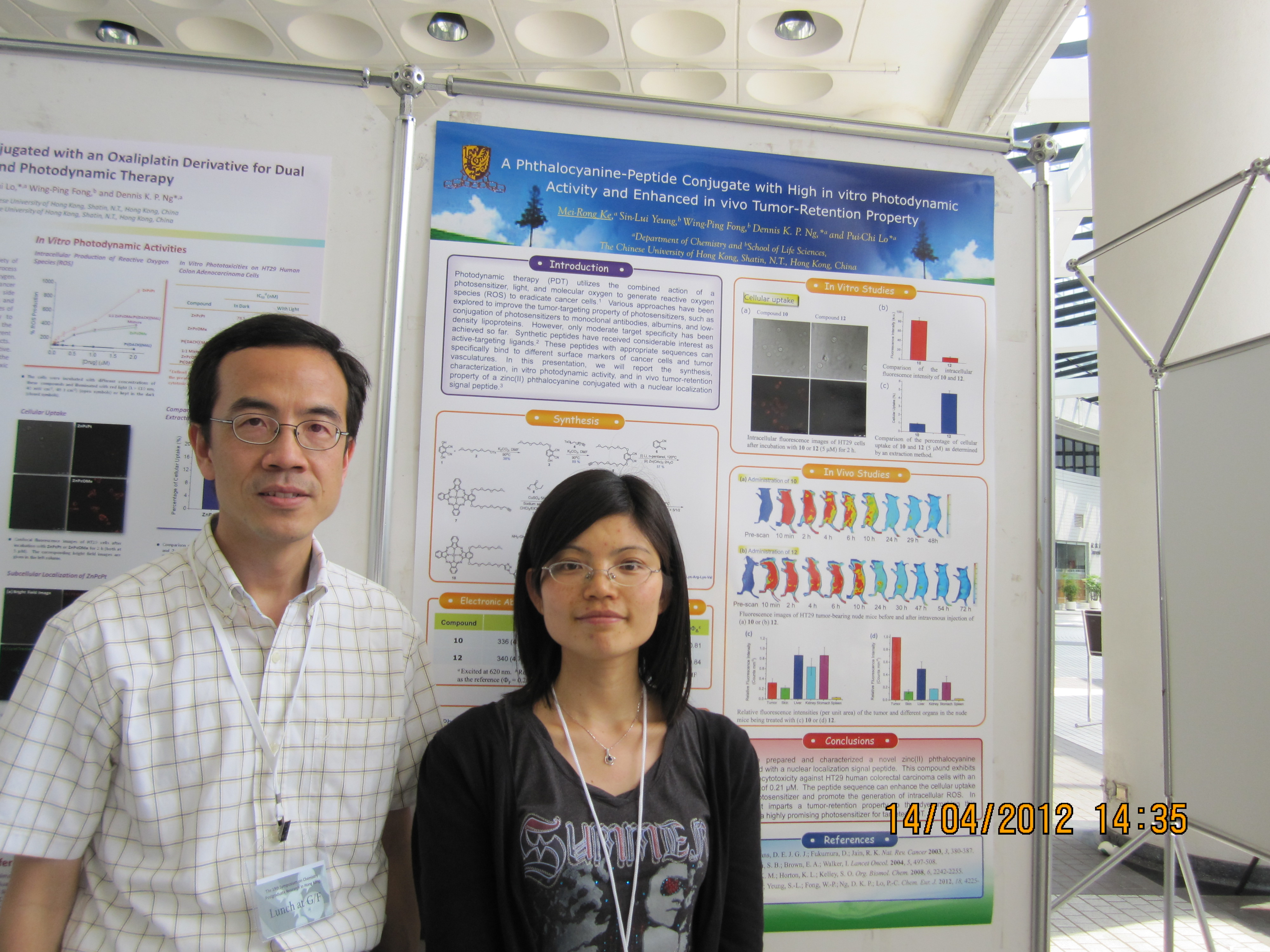 Photo of The Best Poster Award in Inorganic Chemistry: Prof. Dennis K. P. Ng and Ms. Ke Meirong