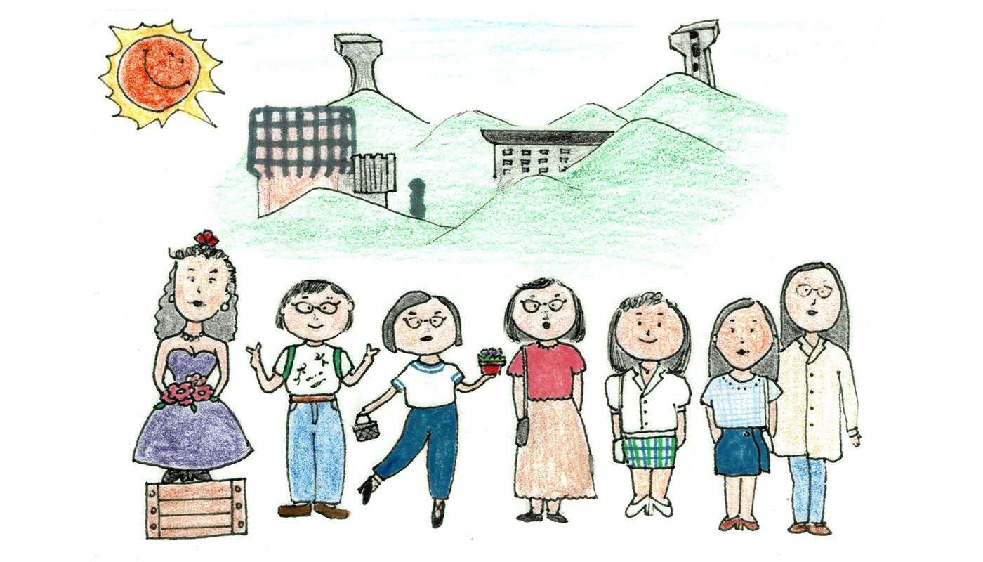 Crayon drawing by Bonnie's former CUHK classmate, depicting Bonnie <em>(far left)</em> with her six friends on campus <em>(courtesy of the interviewee)</em>
