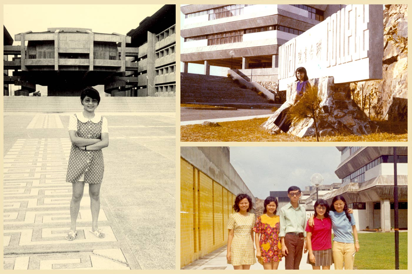 Pictured at the University Mall <em>(left)</em> and the United College of CUHK in the 1970s