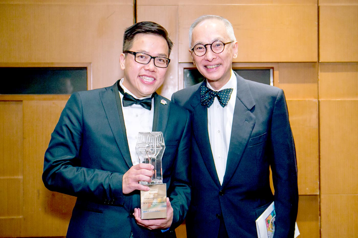 Robert and his mentor Prof. Freeman Chan at the Hong Kong Ten Outstanding Young Persons award ceremony