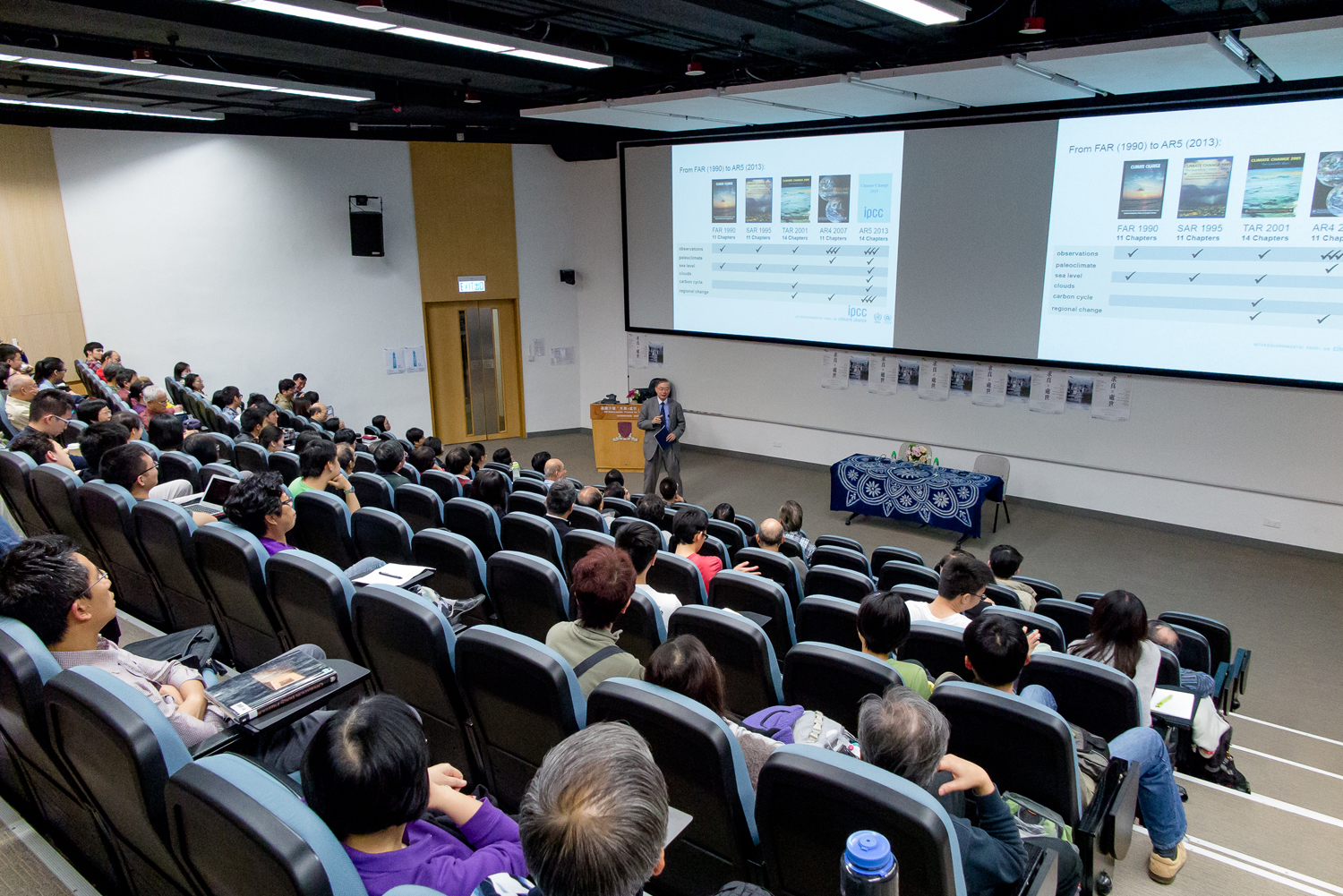 Professor Gabriel Ngar-cheung Lau delivers his lecture 'On Global Warming' at the GE Salon '(Source: General Education Foundation Programme)'