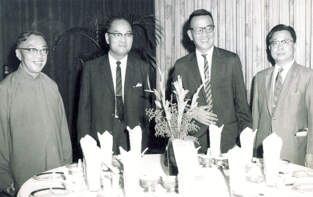 Dr Choh-ming Li with presidents of the three founding Colleges (1963)