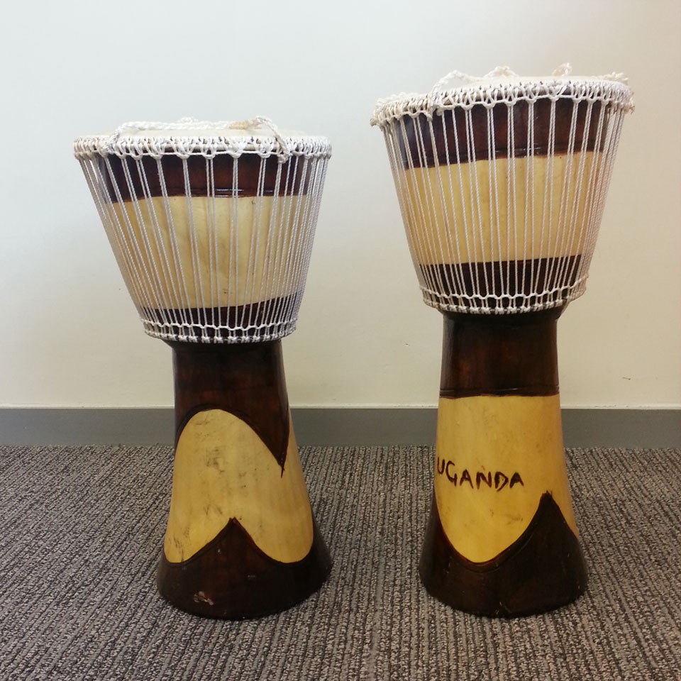 Souvenirs from the S.H. Ho College's trip to Uganda: African drums